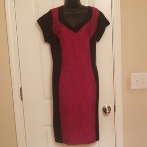 Ashley Stewart Plus Size Black & Red Ruched Dress
